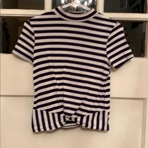 Child's stripes art class top with faux from tie